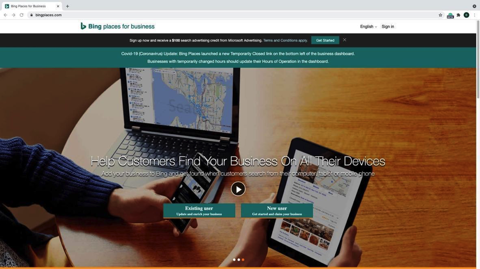 """Bing - Step 1 - Bing places title menu showing a laptop, cellphone, and tablet. The text overlay is """"Help Customers Find Your Business On All Their Devices"""