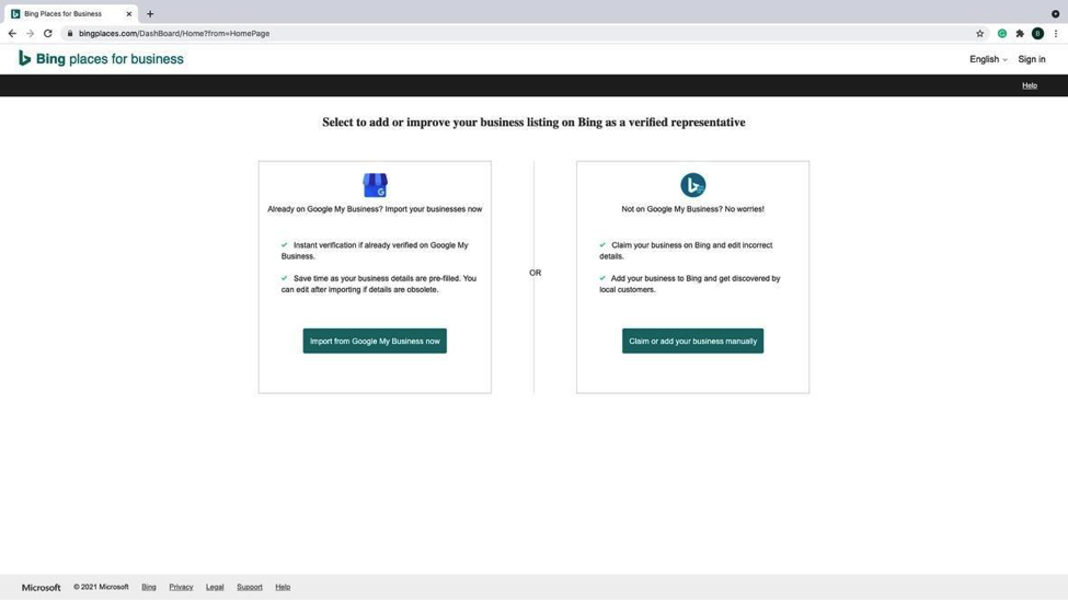 Bing - Step 2 - Webpage from Bing Places showing two options