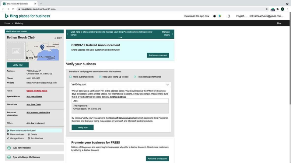 Bing - Step 8 - Business profile dashboard for Bing Places