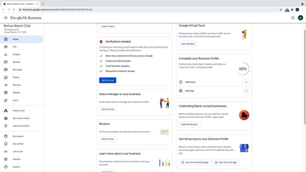 Step 16 - Welcome to the Google my business dashboard