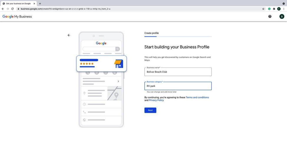 Step 4 - Select proper business category