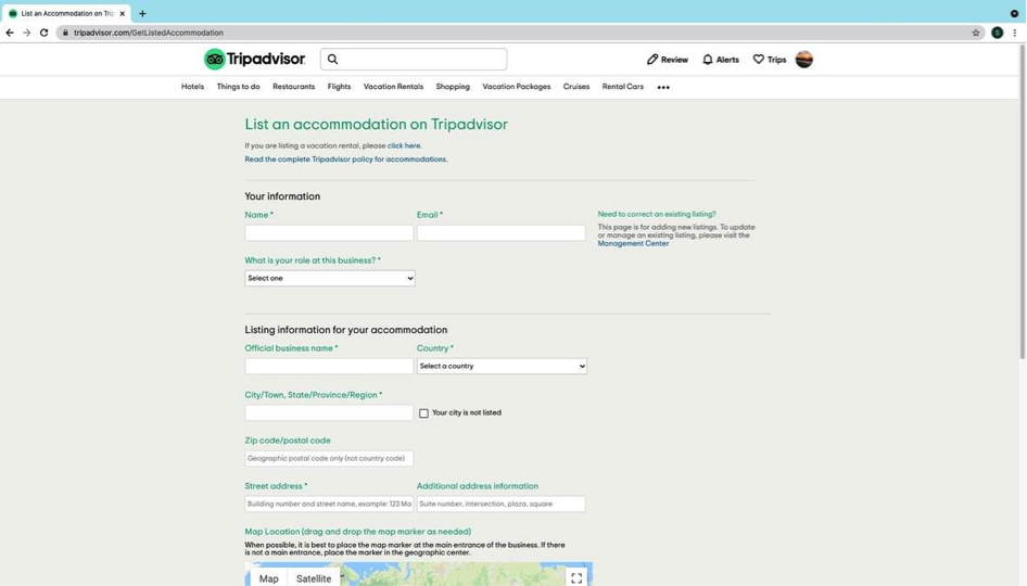 Trip Advisor - New listing step 2
