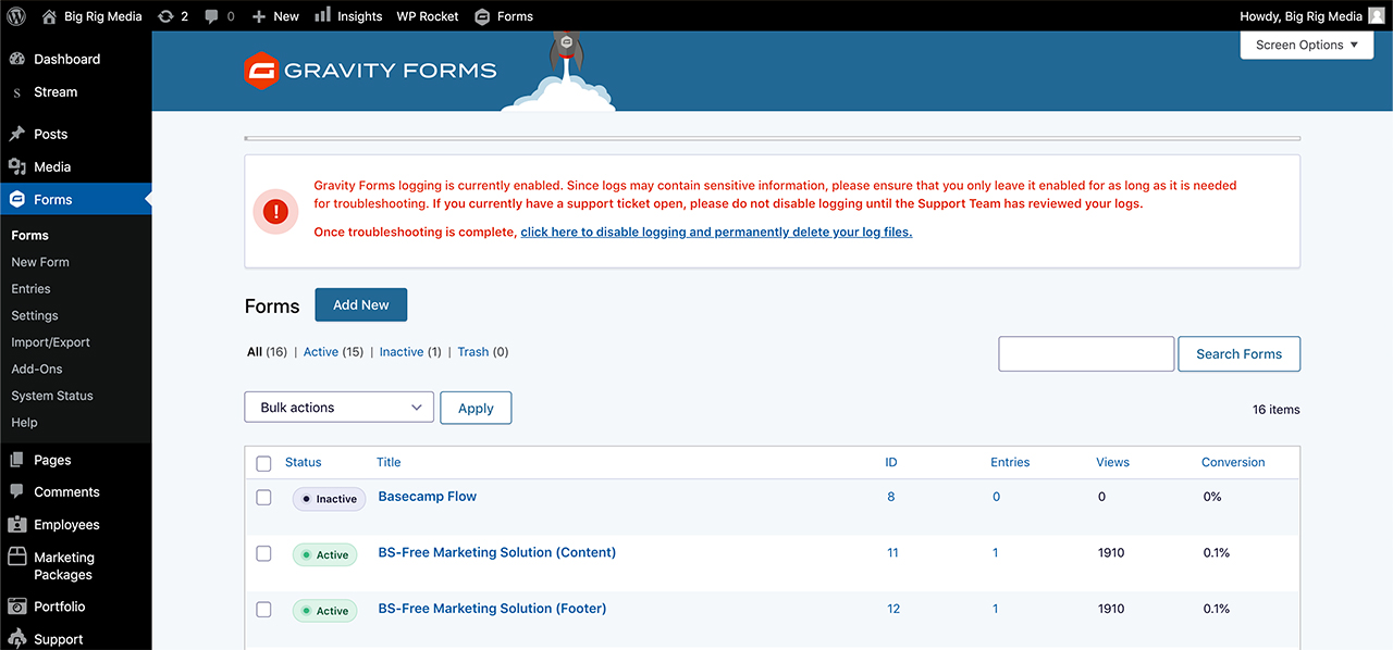 Wordpress Form Submissions
